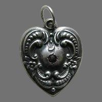 Vintage Floral Border Garnet Paste Grandmother Large Sterling Heart Charm