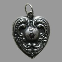 Vintage Floral Border Garnet Paste Grandmother Large Sterling Heart Charm