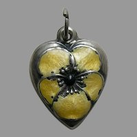 Vintage Yellow Enameled Pansy Muggs Sterling Heart Charm