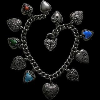 Vintage Thirteen Sterling Heart Charm Bracelet