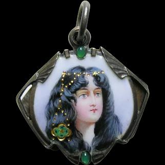 Art Nouveau Enameled Lady Chrysoprase Sterling Slide Mirror