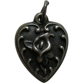 Vintage Calla Lily Sterling Heart Charm