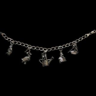 Hand and Hammer Beatrix Potter Sterling Charm Bracelet