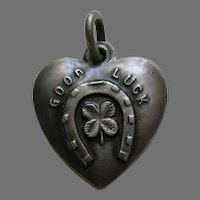 Antique Good Luck Sterling Heart Charm