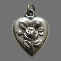 "Antique Rose ""JMP"" Sterling Heart Charm"