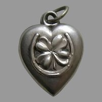 "Antique Shamrock Horseshoe ""J.L.C."" Sterling Heart Charm"