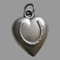 "Antique Horseshoe ""P.L."" Sterling Heart Charm"