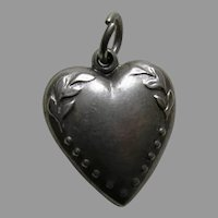 Antique Leaves Barbara Sterling Heart Charm