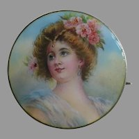 Meyle and Mayer Enameled Lady 800 Silver Brooch