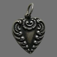 Vintage Triangle Scroll Sterling Heart Charm