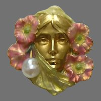 Art Nouveau Carter Gough Enameled Lady and Poppies Pearl 14k Brooch