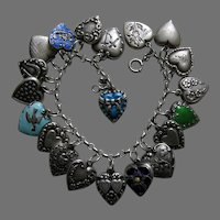 Vintage Twenty Sterling Heart Charm Bracelet