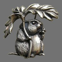 Hand and Hammer Johnny Town Mouse Sterling Brooch