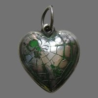 Vintage Green Enameled Spider and Fly Extra Puffy Sterling Heart Charm