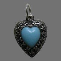 Vintage Turquoise Paste Fleur-de-lis Border Sterling Heart Charm