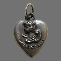 """Antique """"You're My Baby""""  Mama Sterling Heart Charm"""