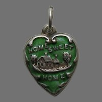 """Vintage Green Enameled Home Sweet Home """"""""G'Ma""""  Sterling Heart Charm"""
