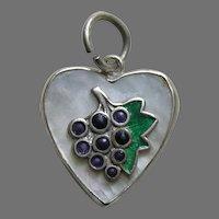 Vintage Enameled Grapes MOP Frank Sterling Heart Charm