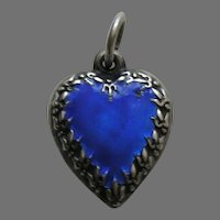 Vintage Enameled Blue Fleur-de-lis Border Sterling Heart Charm