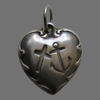 Vintage Faith Hope and Charity Joy Sterling Heart Charm