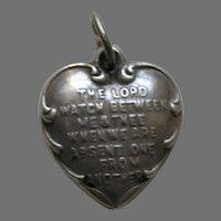 Vintage Mizpah Mom Sterling Heart Charm