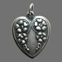 Vintage Large Cascading Flowers Sterling Heart Charm