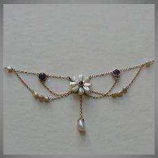 Edwardian Freshwater Pearl Amethyst 14k Festoon Necklace