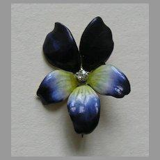 Antique Enameled Violet Diamond 14k Brooch