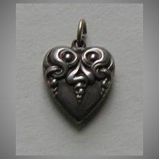 Art Nouveau Sterling Heart Charm