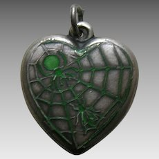 Vintage Green Enameled Spider and Fly Sterling Heart Charm