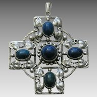 Arts and Crafts Lapis Sterling Pendant