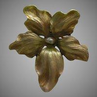 Art Nouveau Iridescent Enamel Flower Pearl 14k Brooch
