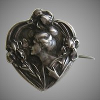 French Art Nouveau Lady and Iris 800 Silver Heart Brooch
