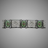 Art Deco Enameled Filigree Sterling Bracelet