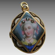 Antique Enameled Lady Diamond Gold Locket
