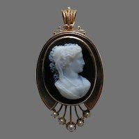 Victorian Stone Cameo Pearl 14k Gold Brooch Pendant
