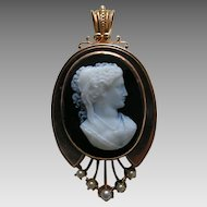 Victorian Stone Cameo Pearl 14k Gold Brooch Pendant