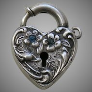 Walter Lampl Blue Paste Sterling Heart Lock