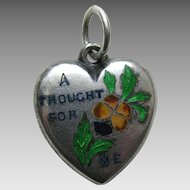 """Antique Enameled Rebus """"A Thought For Me"""" Pansy Sterling Heart Charm"""