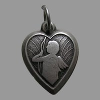 "Vintage Cupid ""Dad"" Sterling Heart Charm"