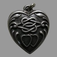 "Vintage Double Heart Lover's Knot ""Alice"" Sterling Heart Charm"