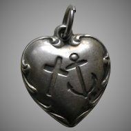 "Vintage Faith Hope and Charity ""MWM"" Sterling Heart Charm"