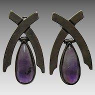 Antonio Pineda Amethyst 970 Silver Earrings