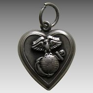 "Vintage Marines ""Joan"" Sterling Heart Charm"