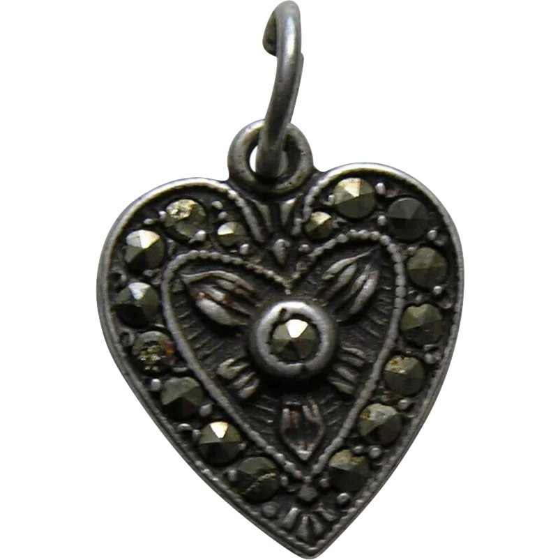 vintage marcasite sterling heart charm red robin