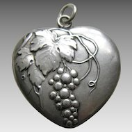 Antique Double Sided Grapes and Leaves Large Silver Heart Charm