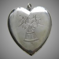 "Victorian Engraved Bell and Bow ""MA"" Large Sterling Heart Locket"
