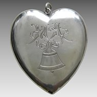 """Victorian Engraved Bell and Bow """"MA"""" Large Sterling Heart Locket"""