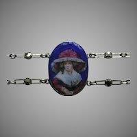 Vintage Enameled Lady in Hat Marcasite German Sterling Bracelet