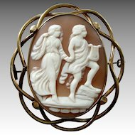 Large Victorian Orpheus and Eurydice Carved Shell Cameo Brooch